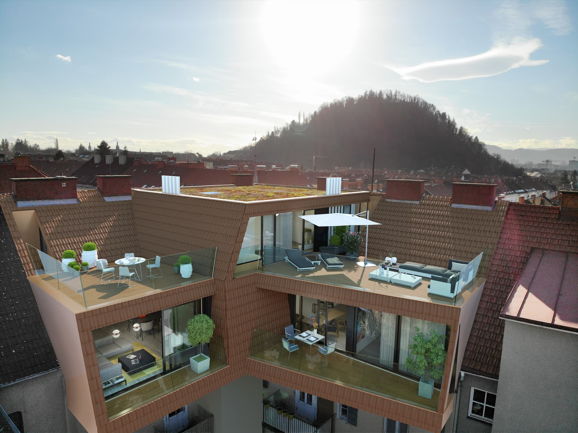 Aussenansicht Dachbodenausbau Immola