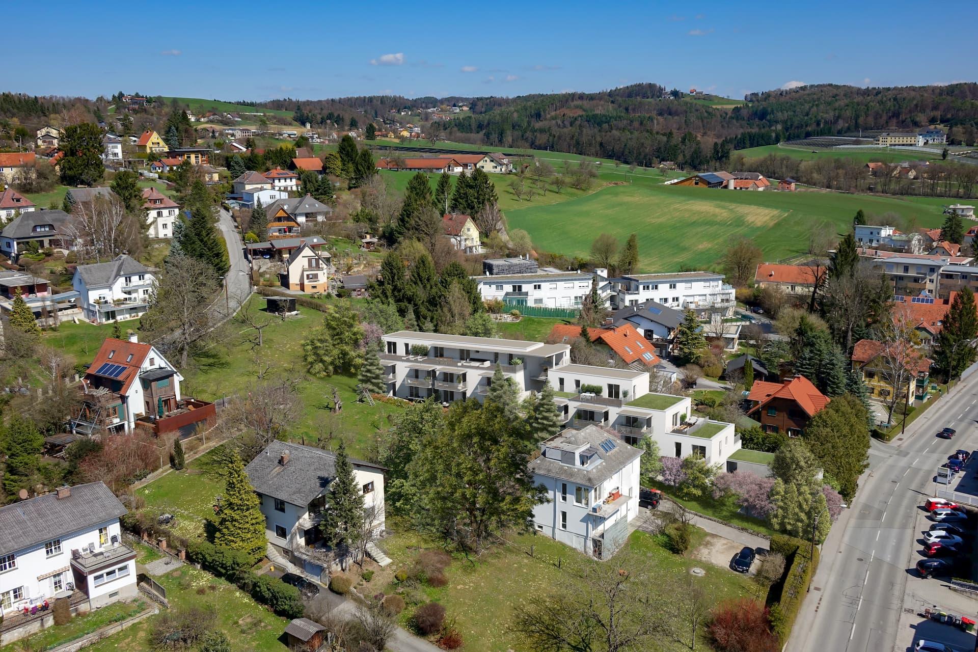 Luftansicht der Wohnanlage Per Pedes in Graz