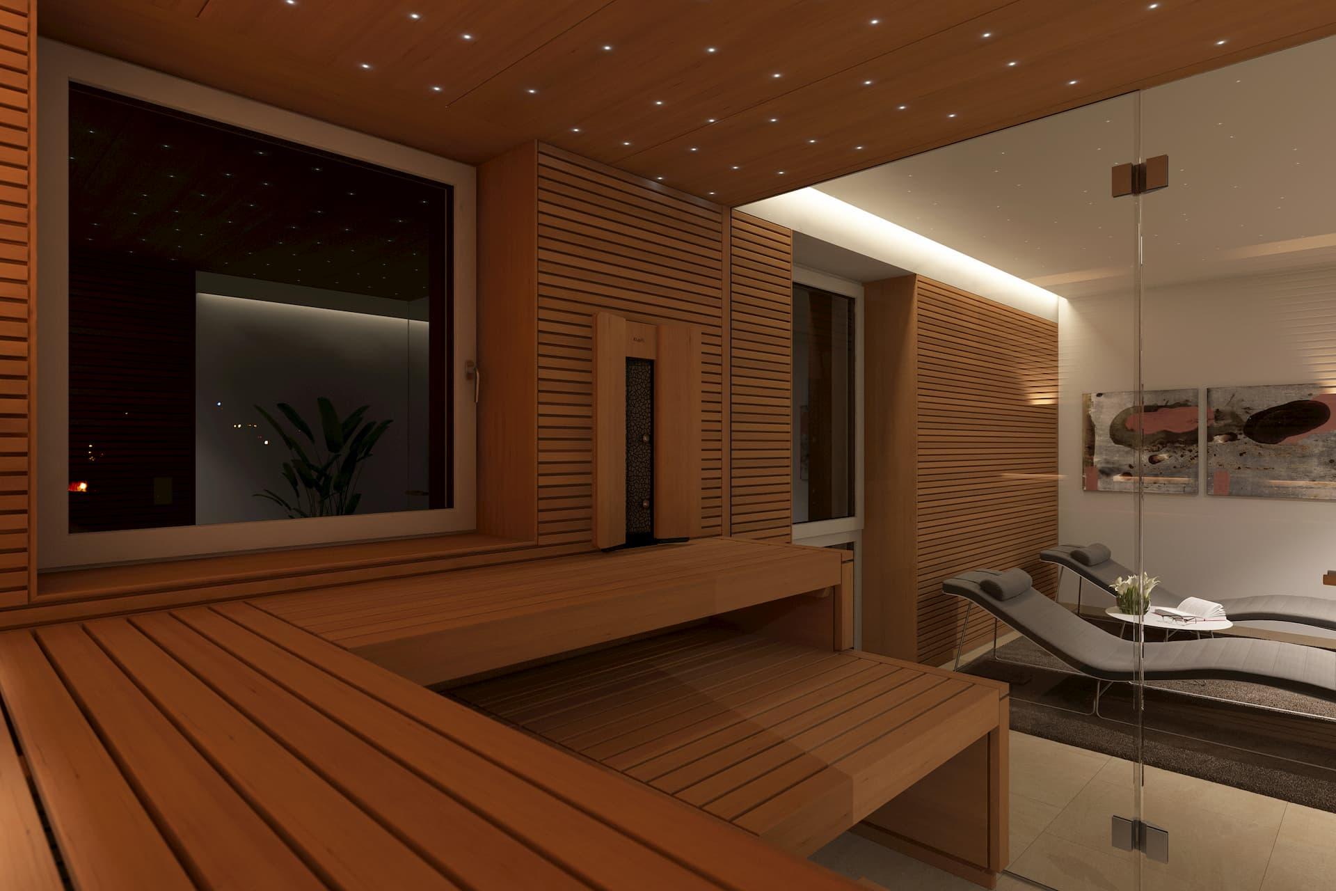 Privater Wellnessbereich mit Blick aus der Sauna