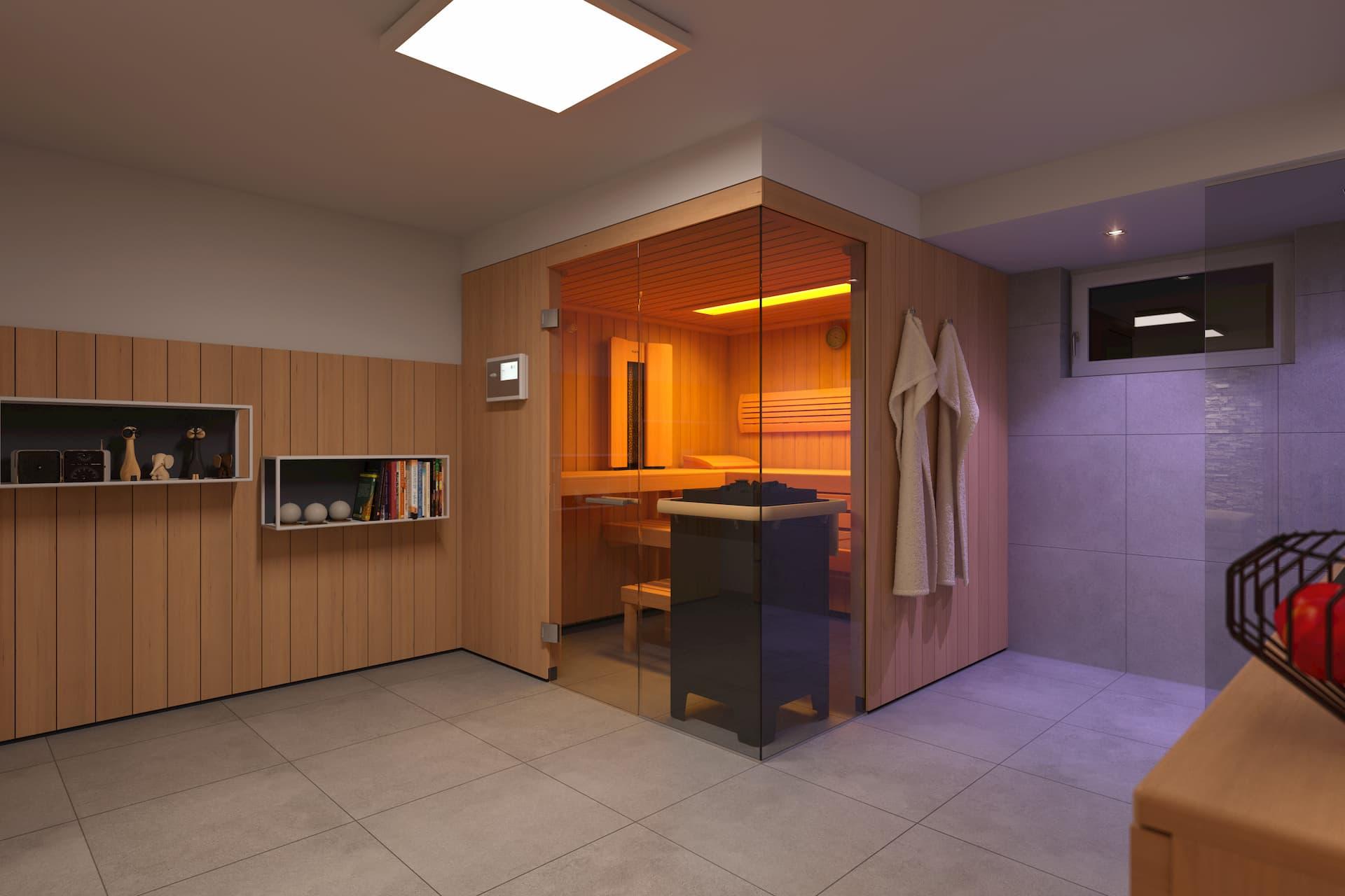 Privater Wellnessbereich mit Blick auf die Sauna