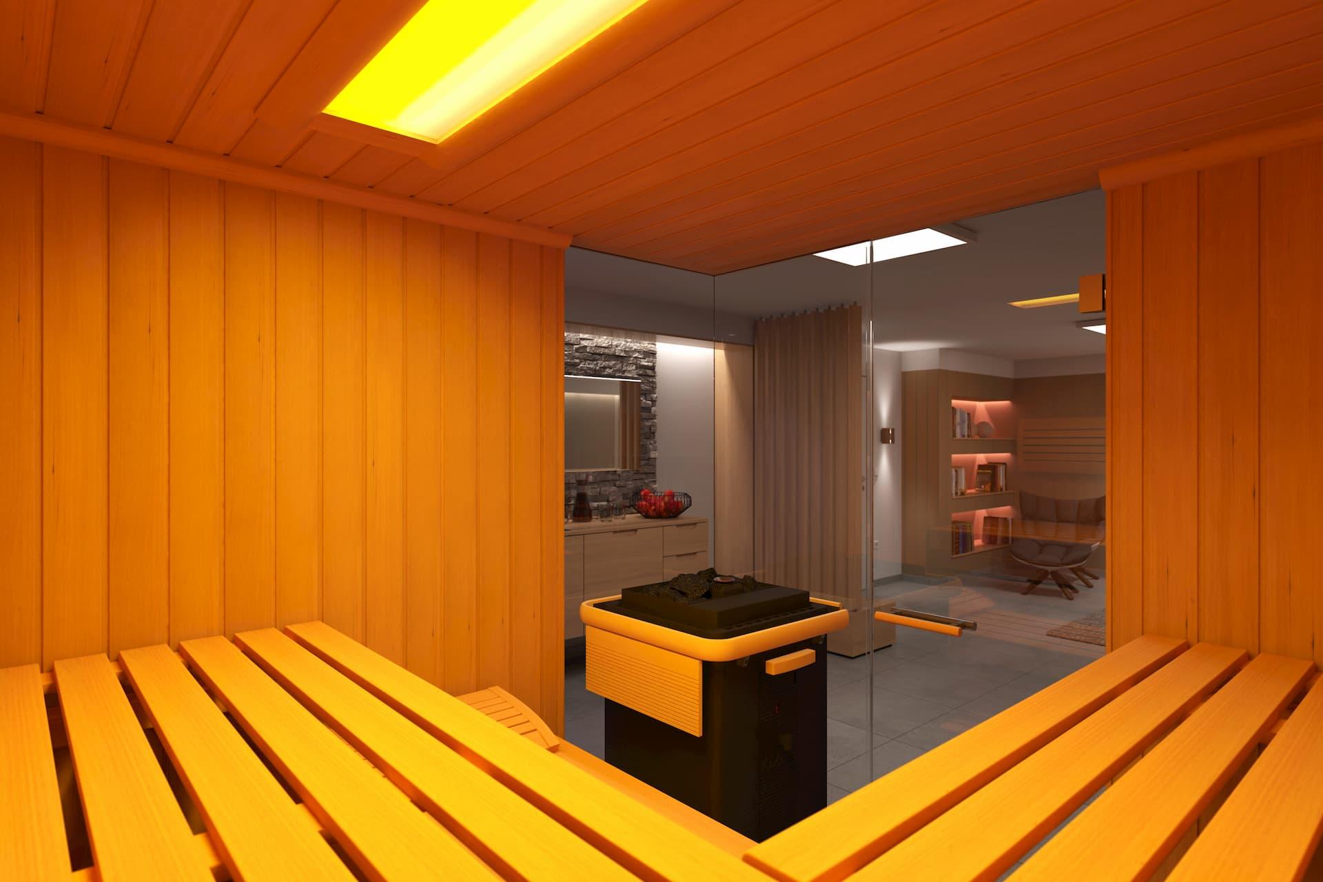Sauna in einem privaten Wellnessbereich